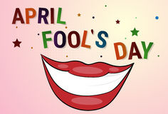 Smiling Mouth First April Fool Day Happy Holiday Greeting Card. Flat Vector Illustration Stock Images