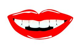 Smiling mouth with tooth gaps stock illustration