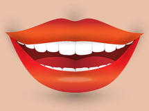 Smiling mouth of a woman.  Vector illustration Royalty Free Stock Photography
