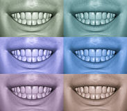 Smiling Mouths Showing Teeth In Various Colors Stock Photography