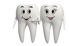 Smiling Mr and Mrs 3d Tooth icon - isolated Stock Images