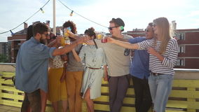 Smiling multi-ethnic friends toasting on the rooftop terrace. Group of smiling multi-ethnic friends toasting on the rooftop terrace stock video