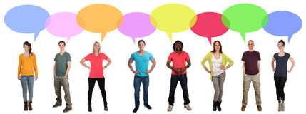 Smiling multi ethnic large group of people talking speaking sayi Royalty Free Stock Photography