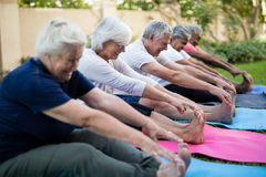 Smiling multi-ethnic senior people doing stretching exercise. While sitting on exercise mats at park stock image
