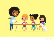 Smiling multiracial children sit at table and have breakfast while mother pour milk into gasses. Kids eating healthy morning meal. Daily family activity stock illustration