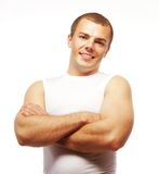 Smiling muscular caucasian man Royalty Free Stock Photos