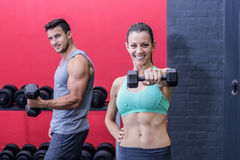 Smiling muscular couple lifting dumbbells Stock Photos