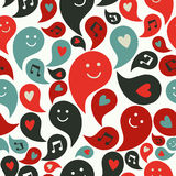 Smiling musical bubbles pattern Royalty Free Stock Images
