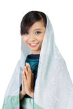 Smiling muslim woman, isolated on white Royalty Free Stock Photos