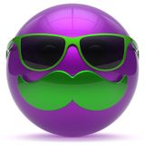 Smiling mustache face cartoon emoticon ball happy avatar. Smiling mustache face cartoon emoticon ball happy joyful handsome person purple caricature sunglasses Stock Photos