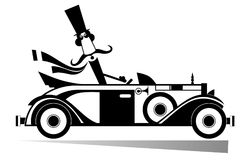 Mustache man drives a retro car isolated. Smiling mustache man in the top hat drives a retro car Royalty Free Stock Photography