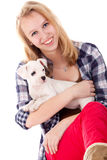 Smiling with my puppy Stock Images