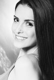 Smiling natural beauty woman bw. Smiling natural looking young woman portrait studio shot black and white Royalty Free Stock Photos