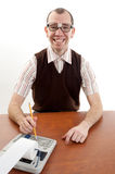 Smiling Nerdy Accountant Stock Photography
