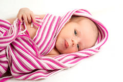 Smiling newborn baby. The first week of the new life Stock Images