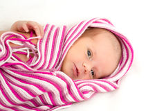 Smiling newborn baby. The first week of the new life Royalty Free Stock Image