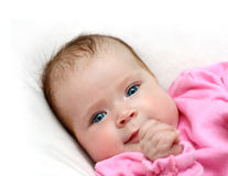 Smiling newborn baby girl Royalty Free Stock Image