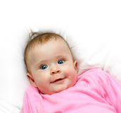 Smiling newborn baby girl Stock Photos