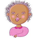 Smiling newborn girl. Cartoon Royalty Free Stock Photo