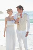 Smiling newlyweds having champagne linking arms Royalty Free Stock Photos