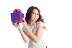 Smiling nice girl holding present Stock Photography