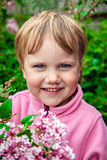 Smiling nice little girl with lilac Stock Photos