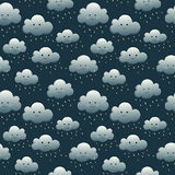 Smiling night rein clouds. Seamless pattern Royalty Free Stock Photos