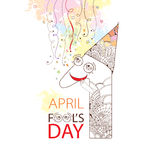 Smiling number Оne with cap  on the background with pastel blots and serpentine. Greeting card for April Fool's day. Royalty Free Stock Images
