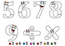 Smiling numbers for coloring as counting for kids - coloring book Stock Photo