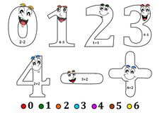 Smiling numbers for coloring as counting for kids - coloring book Royalty Free Stock Image