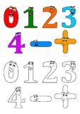 Smiling numbers like coloring books for small children Royalty Free Stock Photo