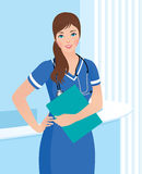 Smiling nurse or doctor at the clinic interior background Royalty Free Stock Image