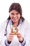 Smiling nurse with freestone Stock Photo