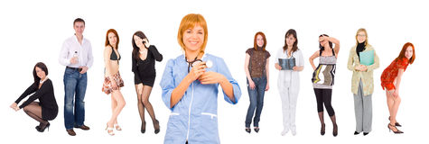 Smiling nurse and many people at the background Stock Photography