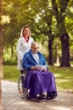 Smiling nurse pushing elderly man in wheelchair while reading bo. Smiling nurse pushing elderly men in wheelchair while reading book in the park Stock Images