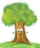 Smiling oak tree royalty free illustration