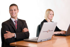 Smiling in office royalty free stock photo
