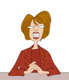 Smiling Office Lady Cartoon. Funny cartoon of a smiling woman sitting at her desk Royalty Free Stock Photos
