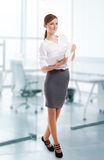 Smiling office lady with notebook at work stock image
