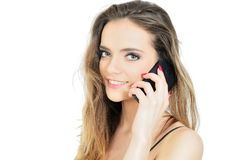 Smiling office lady with phone Royalty Free Stock Image
