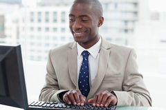 Smiling office worker using a computer Stock Images