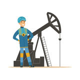 Smiling oilman standing next to an oil rig drilling platform, oil industry extraction and refinery production vector. Illustration on a white background stock illustration
