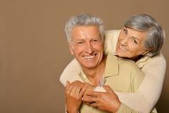 Smiling old couple. Portrait of amusing happy smiling old couple Royalty Free Stock Images