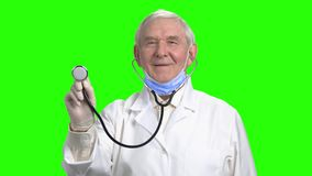 Smiling old doctor checking your lungs. Portrait of old cheerful doctor holding stethoscope, green hroma background stock video