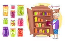 Smiling Old Lady Holding Preserved Food in Jar stock illustration