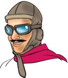 Old pilot. A smiling old pilot illustration Stock Photo