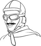 Old Pilot line art. A smiling old pilot illustration Royalty Free Stock Photos