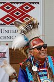 Smiling old Sioux at the Pow Wow. BISMARK, NORTH DAKOTA, September 9, 2018 : 49th annual United Tribes Pow Wow, one of largest outdoor event, gathers in Bismark stock image