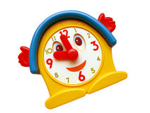 Smiling Old toy clock. Old toy clock with smiling face and waving hands Royalty Free Stock Photos