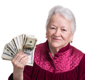 Smiling old woman holding money Stock Image